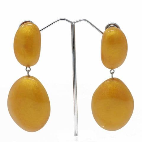 Jackie Brazil  Small Riverstones on Stud Earrings in Gold
