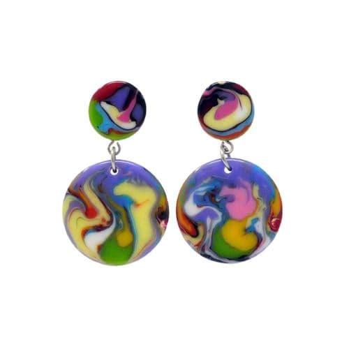 Jackie Brazil Stud and Circle Drop Earrings in Kandinsky A