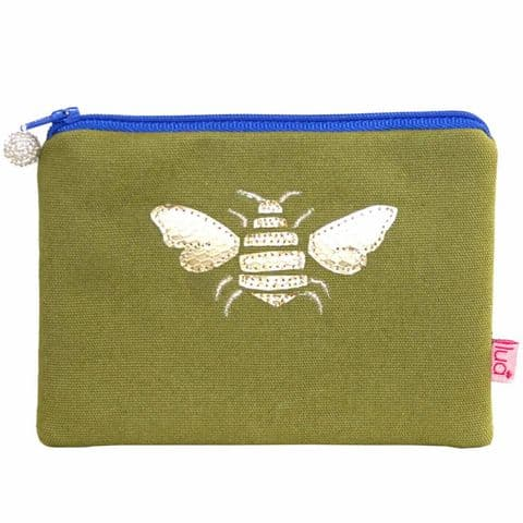 Lua Designs Appliqued Bumble Bee Coin Purse in Olive Green
