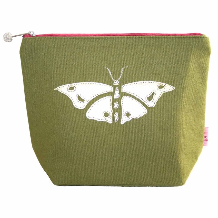Lua Designs Appliqued Butterfly Large Cosmetic Bag in Olive Green