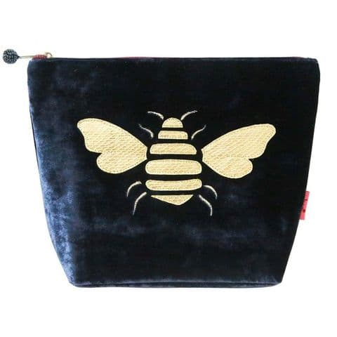 Lua Designs Bumble Bee Large Velvet Cosmetic Bag in Navy Blue