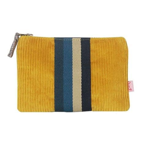 Lua Designs Corduroy Zip Top Coin Purse with Stripes in Ochre Yellow