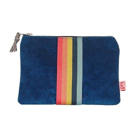 Lua Designs Corduroy Zip Top Coin Purse with Stripes in Petrol Blue