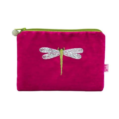 Lua Designs Dragonfly Appliqued Velvet Coin Purse in Hot Pink