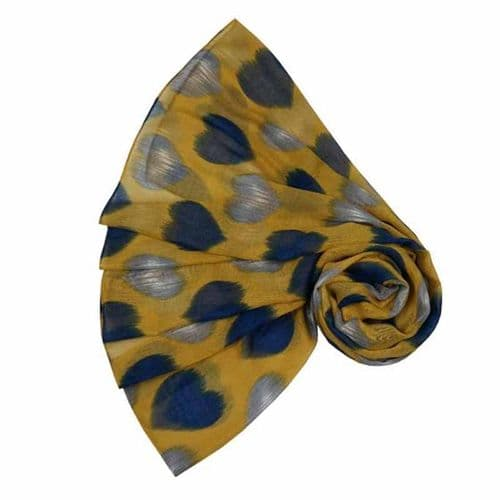 Lua Designs Faded Heart Print Beautiful Soft Scarf in Mustard