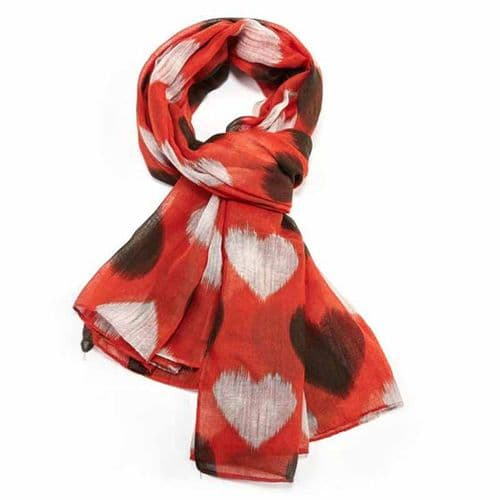Lua Designs Faded Heart Print Beautiful Soft Scarf in Orange