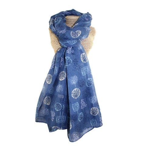 Lua Designs Forest Trees Nature Print Scarf in Navy Blue