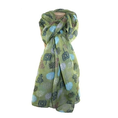 Lua Designs Forest Trees Nature Print Scarf in Olive Green