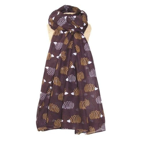 Lua Designs Hedgehog Print Scarf in Fig