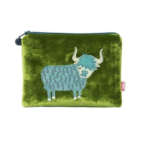 Lua Designs Highland Cow Velvet Coin Purse in Olive