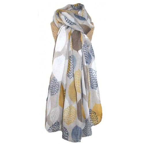 Lua Designs Large Leaf Print Scarf in Grey