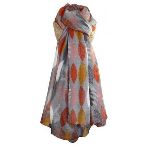 Lua Designs Large Orange and Yellow Leaf Print Scarf in Grey
