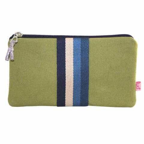 Lua Designs Large Two Zip Coin Purse with Stripes in Olive Green