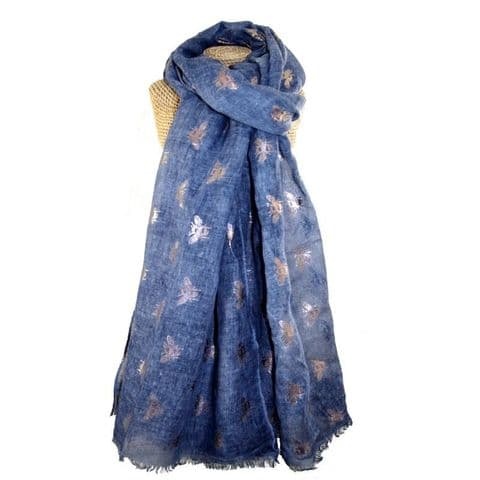 Lua Designs Rose Gold Bumble Bee Foil Print Scarf in Blue