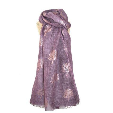 Lua Designs Rose Gold Tree Foil Print Scarf in Purple