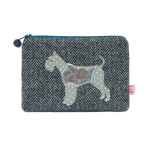 Lua Designs Schnauzer Dog Herringbone Coin Purse in Navy Blue