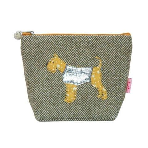 Lua Designs Schnauzer Dog Herringbone Cosmetic Bag Purse in Olive Green with Mustard Trims