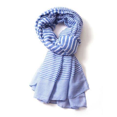 Lua Designs Stripe Print Beautiful Soft Scarf in Blue and White