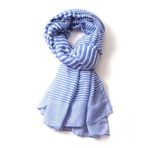 Lua Designs Stripe Print Beautiful Soft Scarf in Blue and White