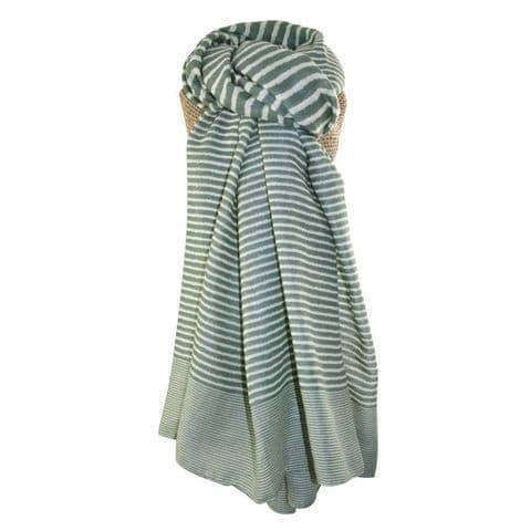 Lua Designs Stripe Print Beautiful Soft Scarf in Green and White