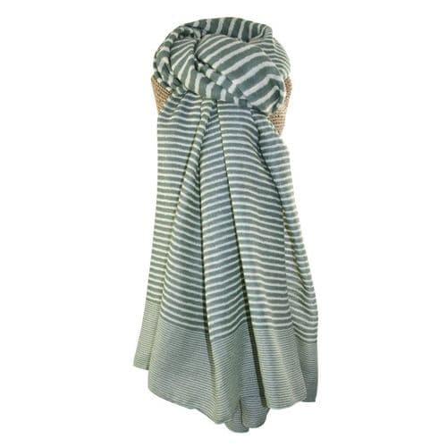 Lua Designs Stripe Print Beautiful Soft Scarf in Green and White