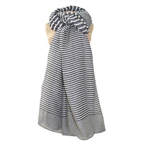 Lua Designs Stripe Print Beautiful Soft Scarf in Grey and White
