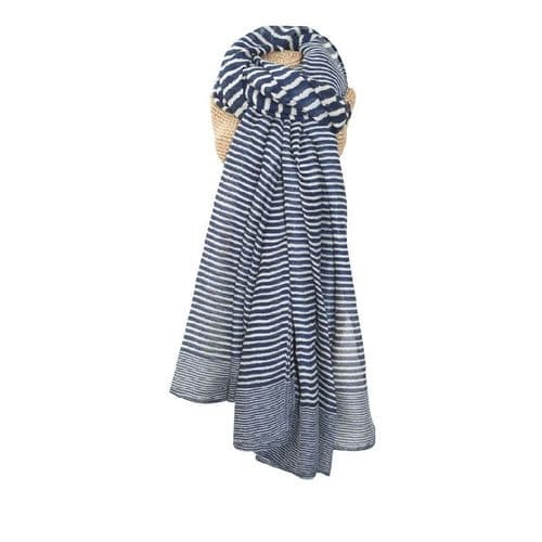 Lua Designs Stripe Print Beautiful Soft Scarf in Navy Blue and White