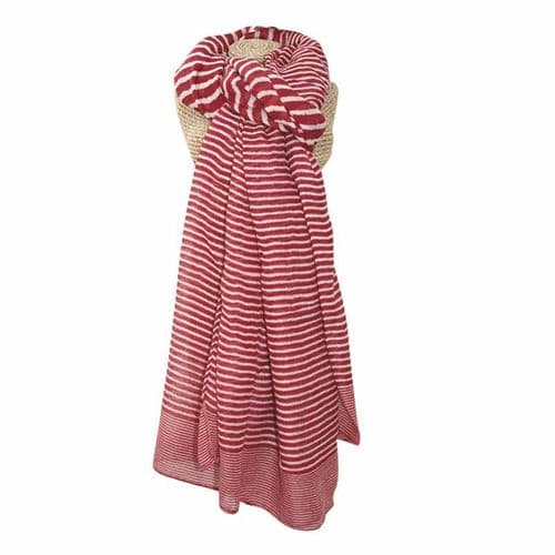 Lua Designs Stripe Print Beautiful Soft Scarf in Red and White
