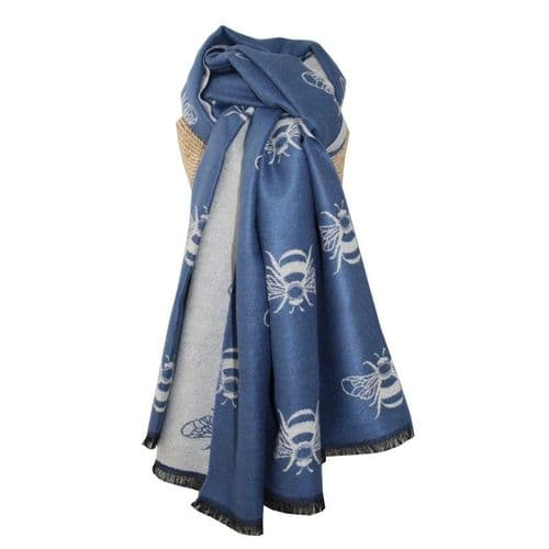 Lua Designs Thick Bumble Bee Soft Warm Scarf in Blue