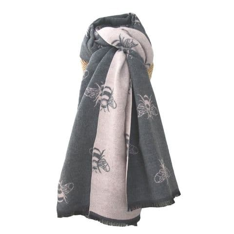 Lua Designs Thick Bumble Bee Soft Warm Scarf in Grey and Pink
