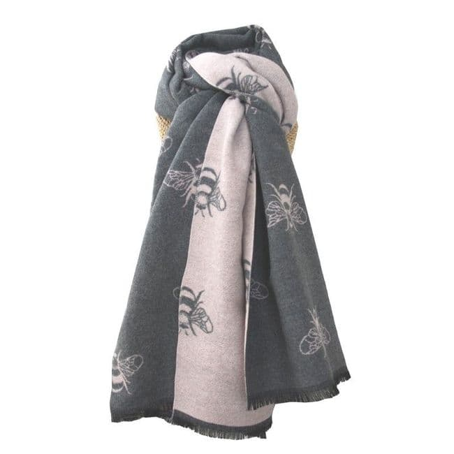 Lua Designs Thick Bumble Bee Soft Warm Scarf in Grey and Pink|Oxfordshire stockist & Online