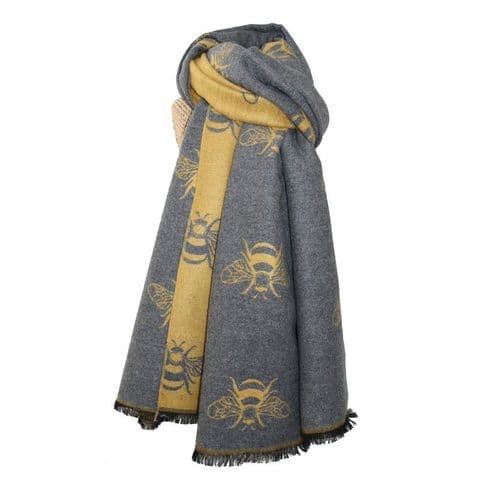 Lua Designs Thick Bumble Bee Soft Warm Scarf in Mustard and Grey