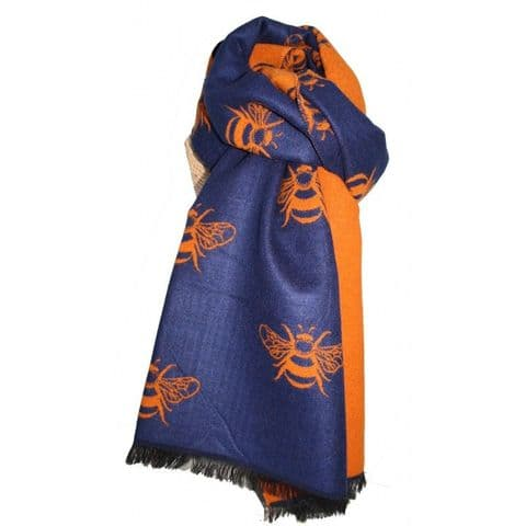 Lua Designs Thick Bumble Bee Soft Warm Scarf in Navy & Orange
