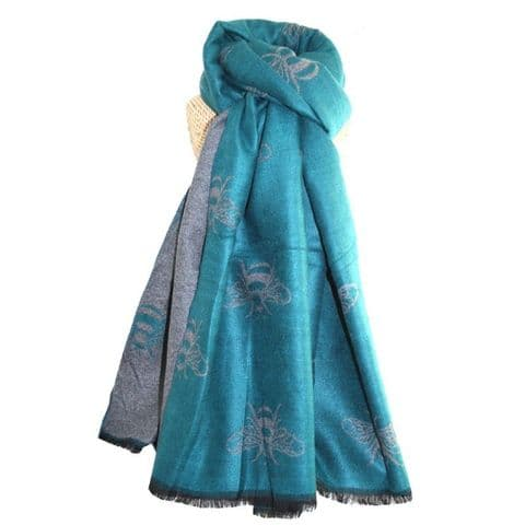 Lua Designs Thick Bumble Bee Soft Warm Scarf in Turquoise and Grey