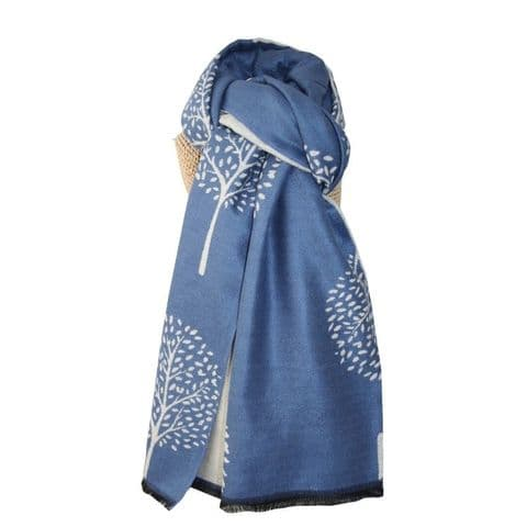 Lua Designs Thick Mulberry Tree Soft Warm Scarf in Blue