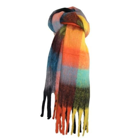 Lua Designs Thick Soft Warm Tartan Scarf in Bright Mixed Colours