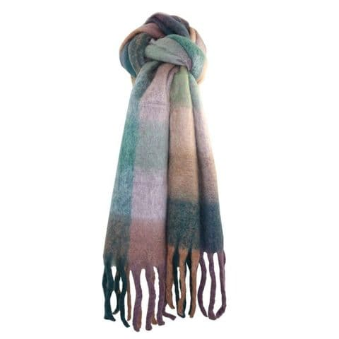Lua Designs Thick Soft Warm Tartan Scarf in Jade Green and Mauve
