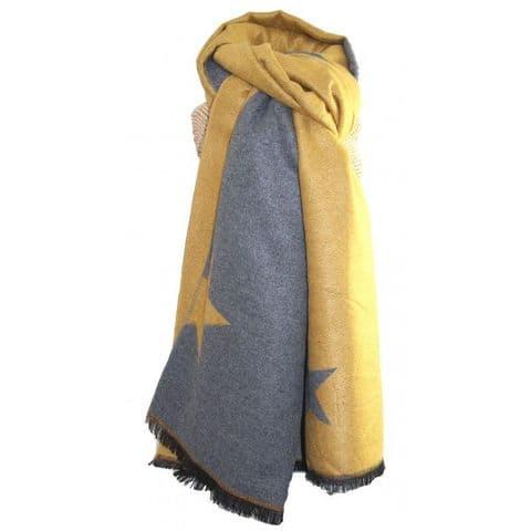 Lua Designs Thick Star Soft Warm Scarf in Mustard