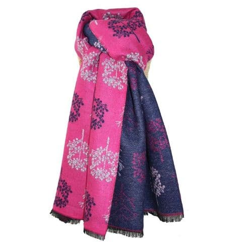Lua Designs Thick Tree Soft Warm Scarf in Hot Pink and Navy