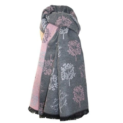 Lua Designs Thick Tree Soft Warm Scarf in Light Pink and Grey