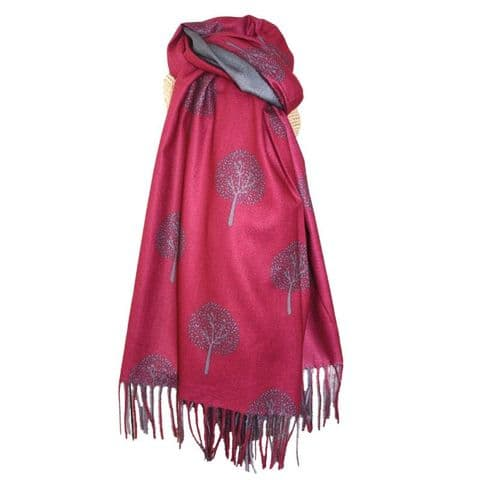 Lua Designs Tree of Life Scarf in Red