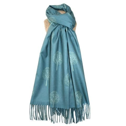 Lua Designs Tree of Life Scarf in Teal