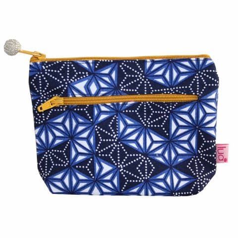 Lua Designs Two Zip Cotton Coin Purse in Navy Blue Geometric Print