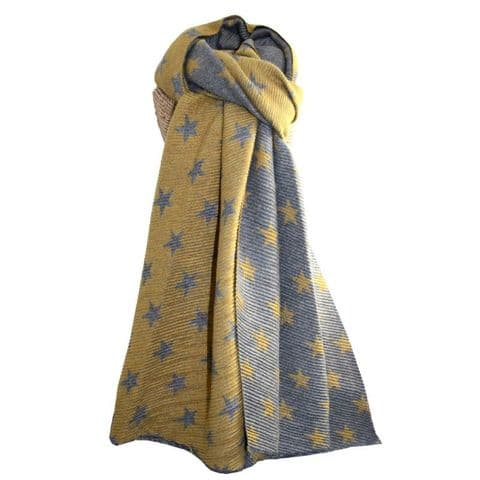 Lua Designs Waffle Small  Star Print Warm Scarf in Mustard and Grey