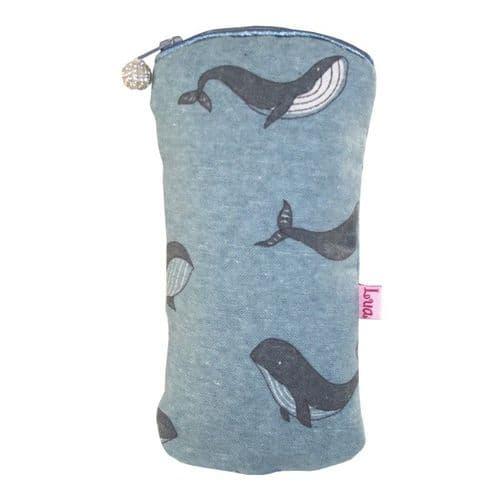 Lua Designs Zipped Glasses Case Purse in Blue Whale Print