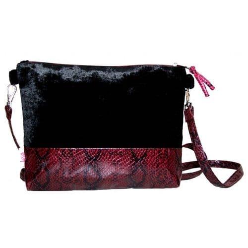 Lua Velvet Snakeskin Mini Bag in Black and Burgandy
