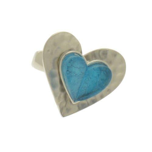 Miss Milly Aqua Heart Ring