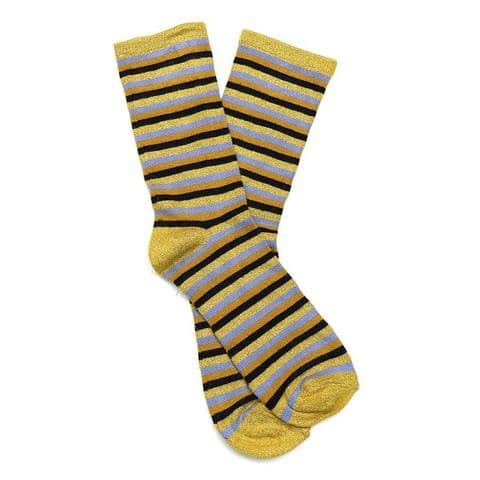 POM Peace Of Mind Bamboo and Lurex Socks in Mustard Stripe
