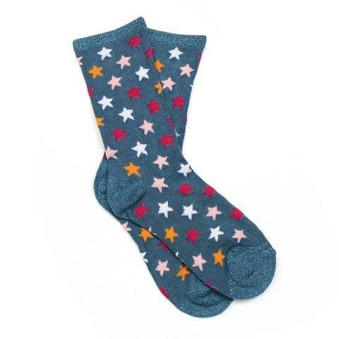 POM Peace Of Mind Bamboo and Lurex Socks in Teal Blue Star