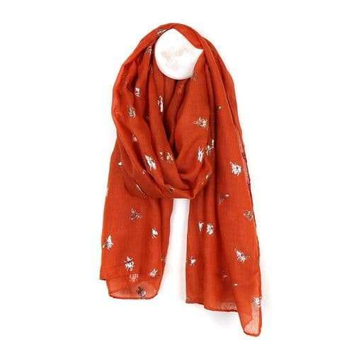 POM Peace Of Mind Burnt Orange Scarf with Rose Gold Bee Print